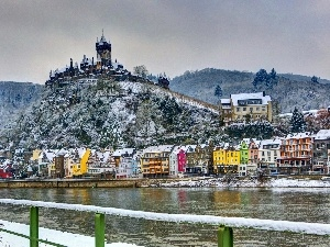 Town, color, Castle, River, Hill