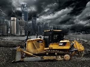 tracks, bulldozer, Town, dark