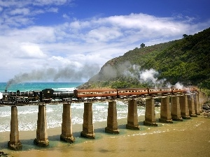 bridge, Train, sea