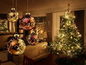 christmas tree, wine glass, Room, baubles, Sofa