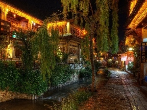 trees, Restaurant, China, Plants, alley