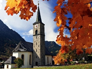 trees, church, Bavaria, viewes, Mountains
