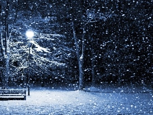 trees, winter, Bench, viewes, snow