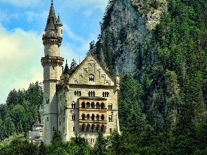 Mountains, rocks, Castle, Neuschwanstein