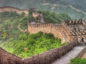 trees, wall, Chinese, Buldings, viewes, large