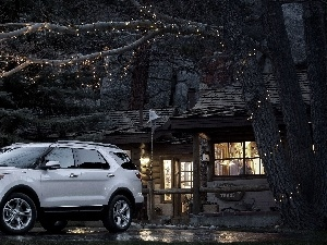 trees, house, Ford, viewes, Explorer
