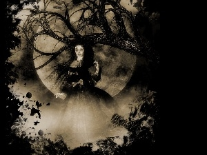 trees, moon, graphics, viewes, Women
