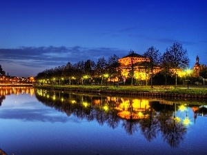 trees, Park, lanterns, Saarbrucken, viewes, River