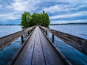 trees, Island, Platform, viewes, lake