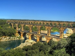 trees, aqueduct, River, viewes, bridge