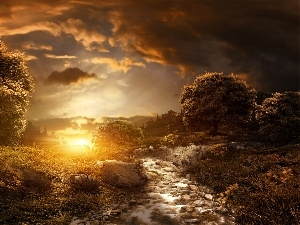 trees, sun, stream, clouds, viewes, west