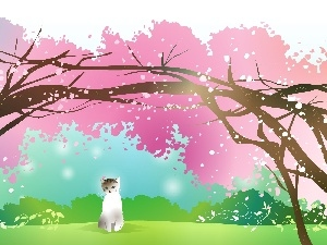 trees, flourishing, White, viewes, cat
