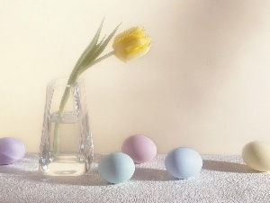 tulip, Vase, eggs, easter