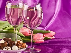 Tulips, Wines, Pink, Two, pralines, Lights
