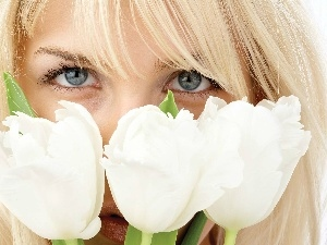 Tulips, White, Women, Eyes