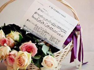 basket, Tunes, roses