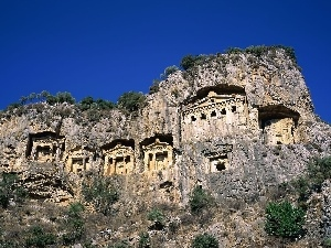 Turkey, Dalyan, tombs, bed-rock