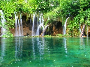 turquoise, viewes, lake, waterfall, water, trees