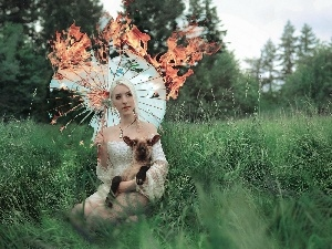 Umbrella, sheep, burning, Women, grass, Blonde