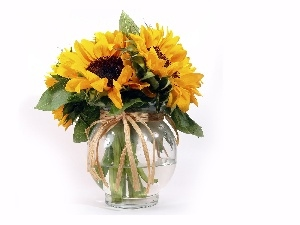 Vase, clear, bouquet, sunflowers