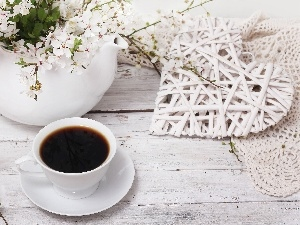 Vase, coffee, cup, Flowers, black