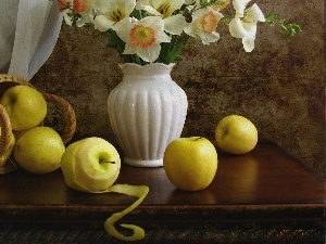 Vase, apples, narcissus, basket