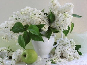 Vase, apples, White, Lilacs