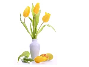 vase, White, Yellow, Tulips