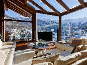View, Windows, house, Mountains, interior