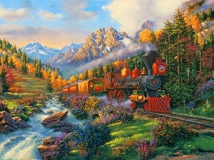 view, Mountains, River, Train