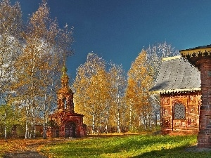 viewes, trees, temple, autumn, decorating