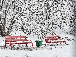 viewes, trees, Park, bench, frosty