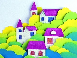 viewes, trees, Town, Cutouts, Houses