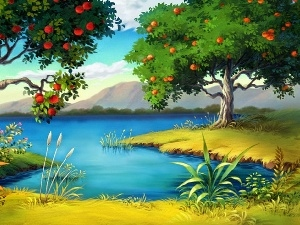 viewes, trees, lake, fruit, Mountains