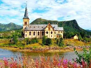 viewes, Mountains, trees, church, grass, brook
