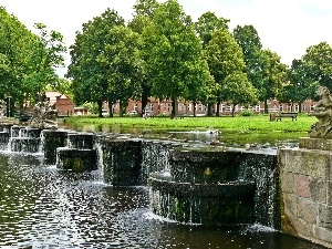 viewes, trees, fountain, Park, water