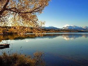 viewes, trees, River, Platform, Mountains