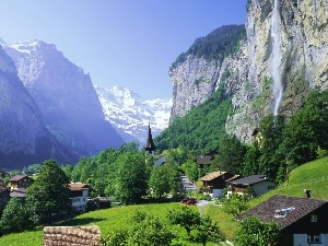 Switzerland, viewes, trees, Mountains, Lauterbrunnen, waterfall, Houses