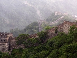 tower, viewes, Great Chinese Wall, brick, trees