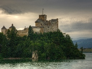 viewes, trees, Castle, water, niedzica