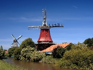 viewes, trees, Windmills, River