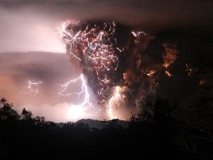volcano, dust, thunderbolt, Cloud