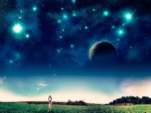 walking, Planets, Sky, girl, star