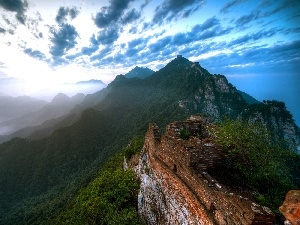 clouds, wall, Mountains