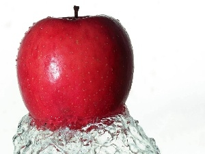 Apple, water, Red