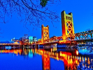 bridge, water, Sacramento
