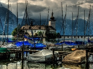 water, Boats, Church, Mountains