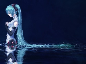 Hair, water, Miku