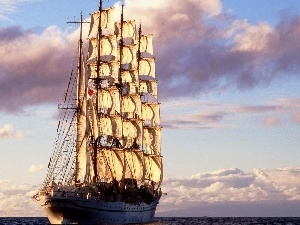 water, clouds, sailing vessel