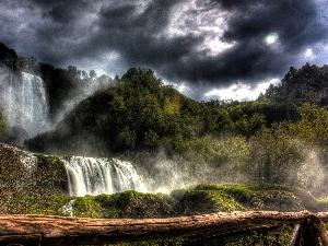 waterfall, woods, clouds, Mountains
